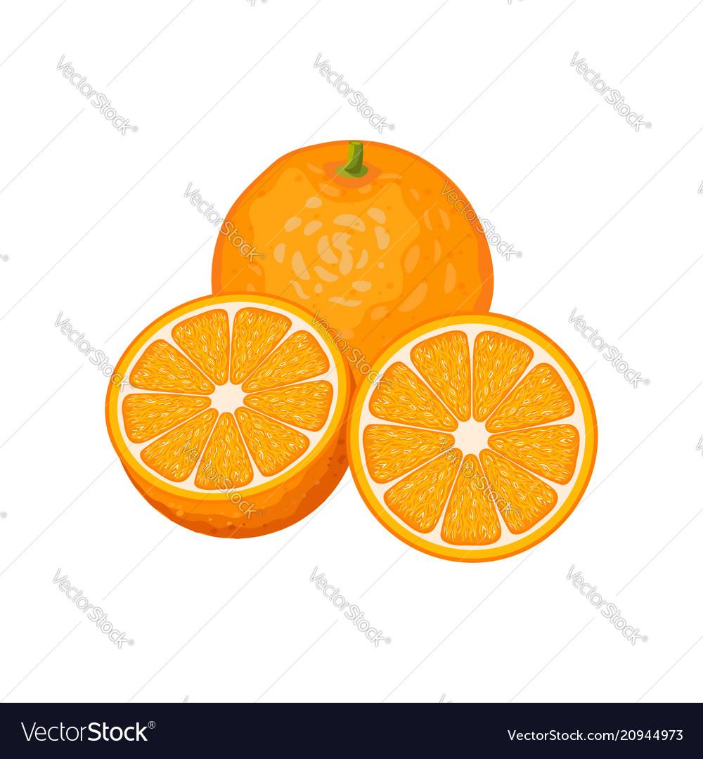 Three orange fruits whole and slices
