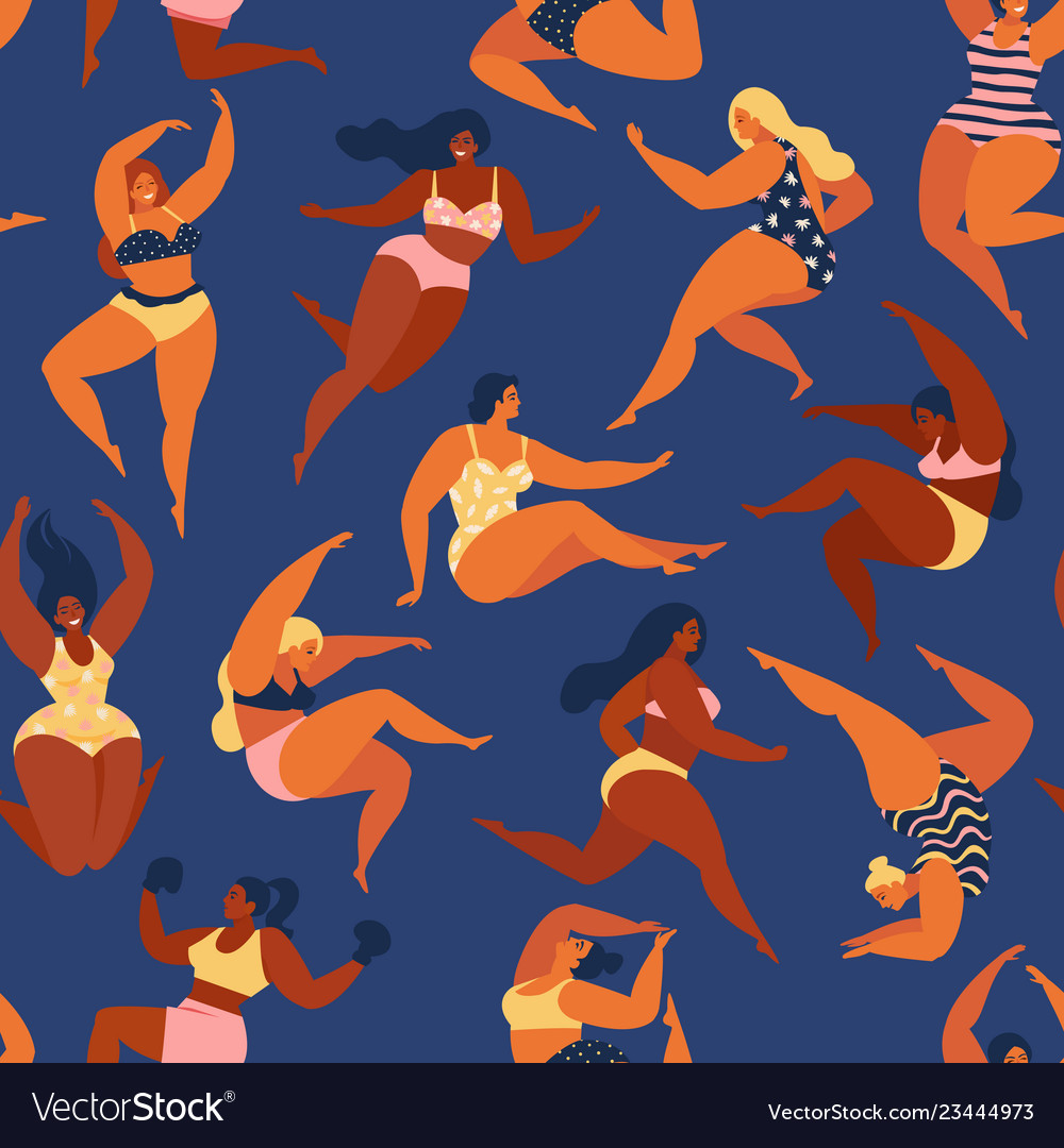 Trendy pattern with girls in summer swimsuits
