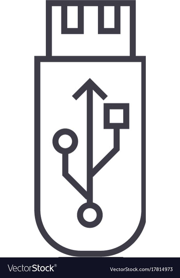 Usb flash memory card line icon sign