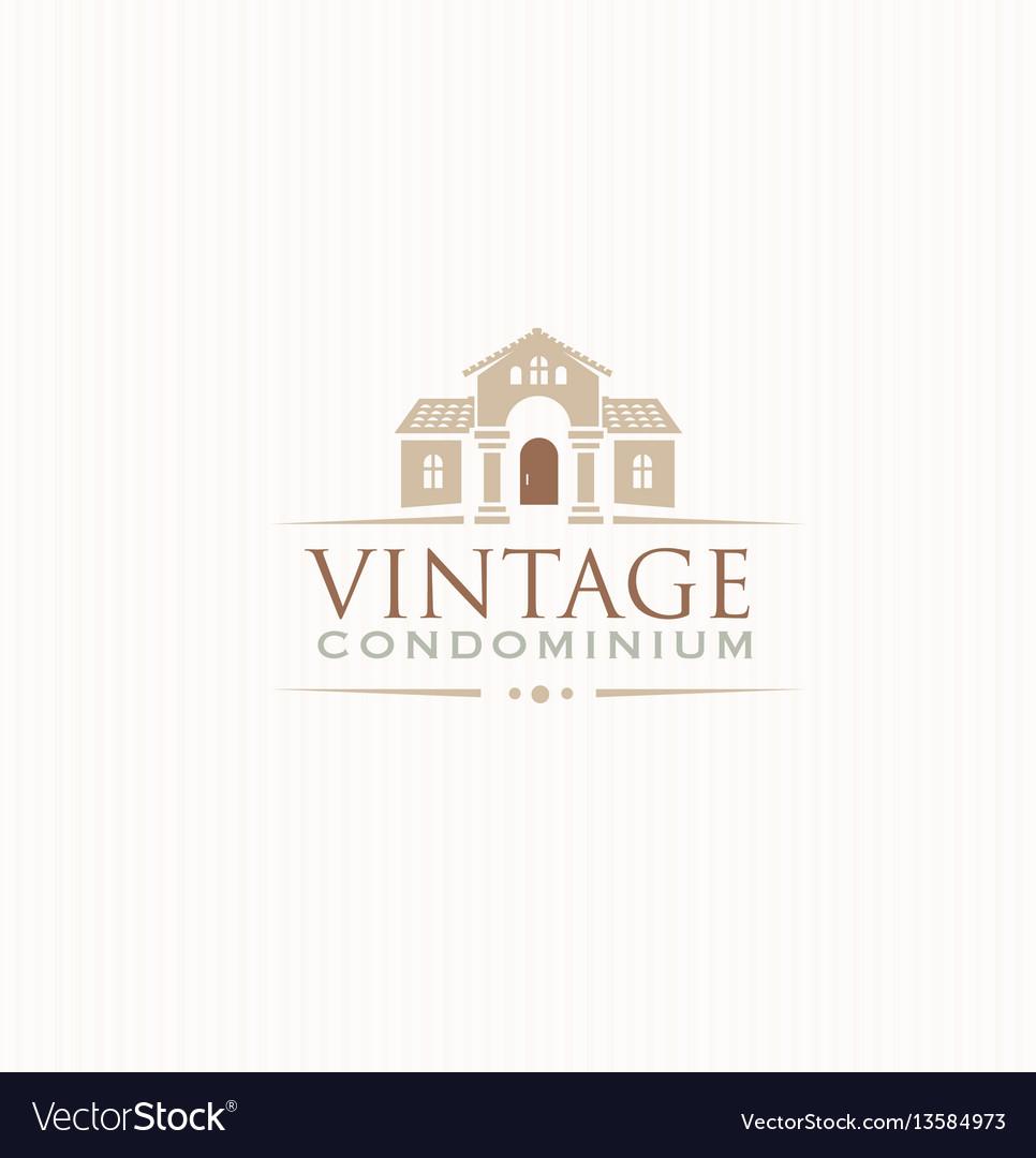 Vintage upscale condominium creative emblem vector image