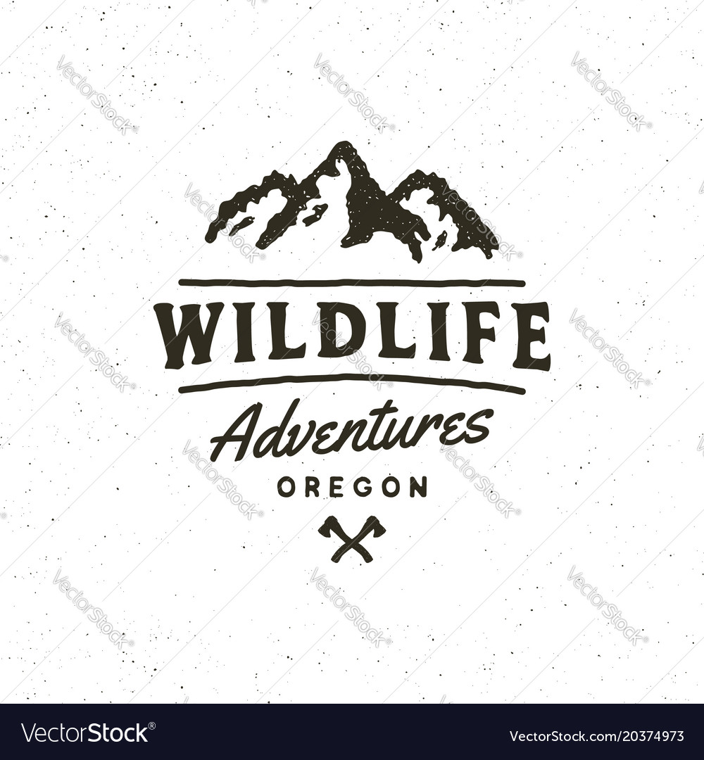 Vintage wilderness logo hand drawn retro styled