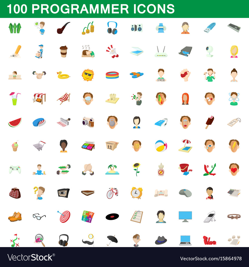 100 programmer icons set cartoon style