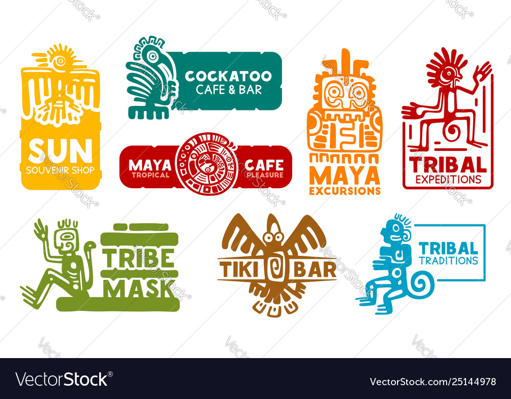 Aztec and maya corporate business identity icons