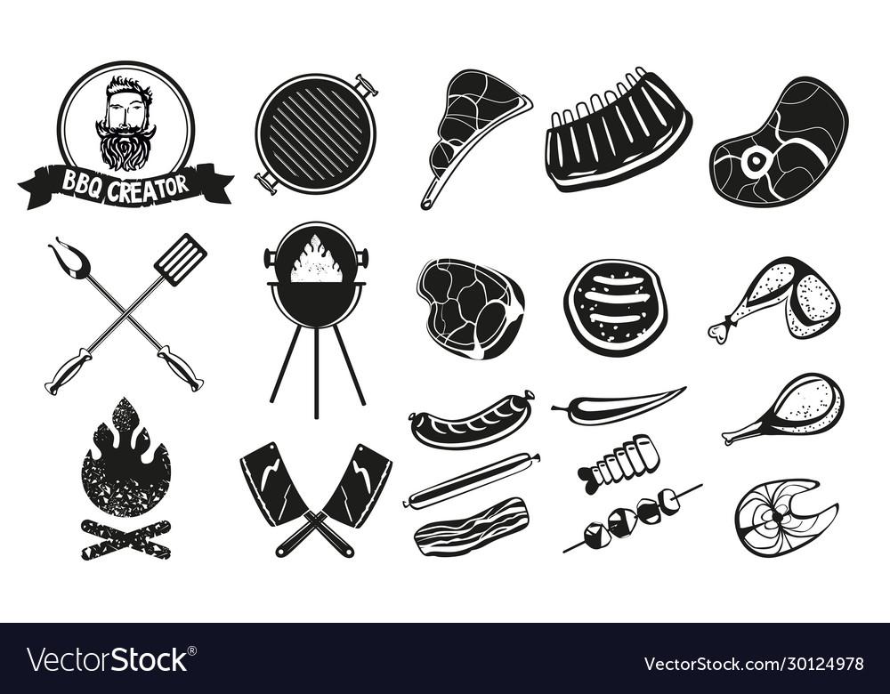 Bbq vintage emblem set barbecue retro icons