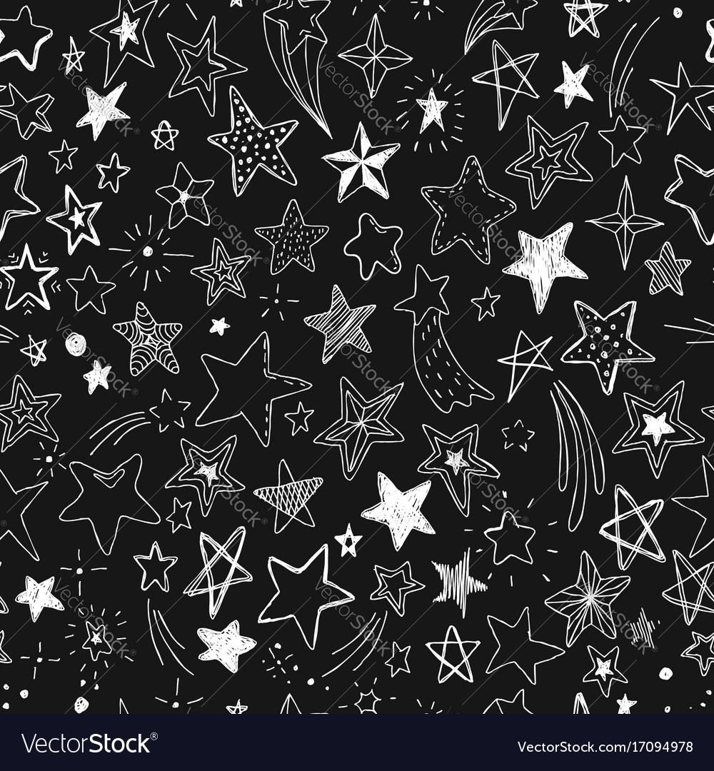Beautiful seamless pattern hand drawn doodle stars