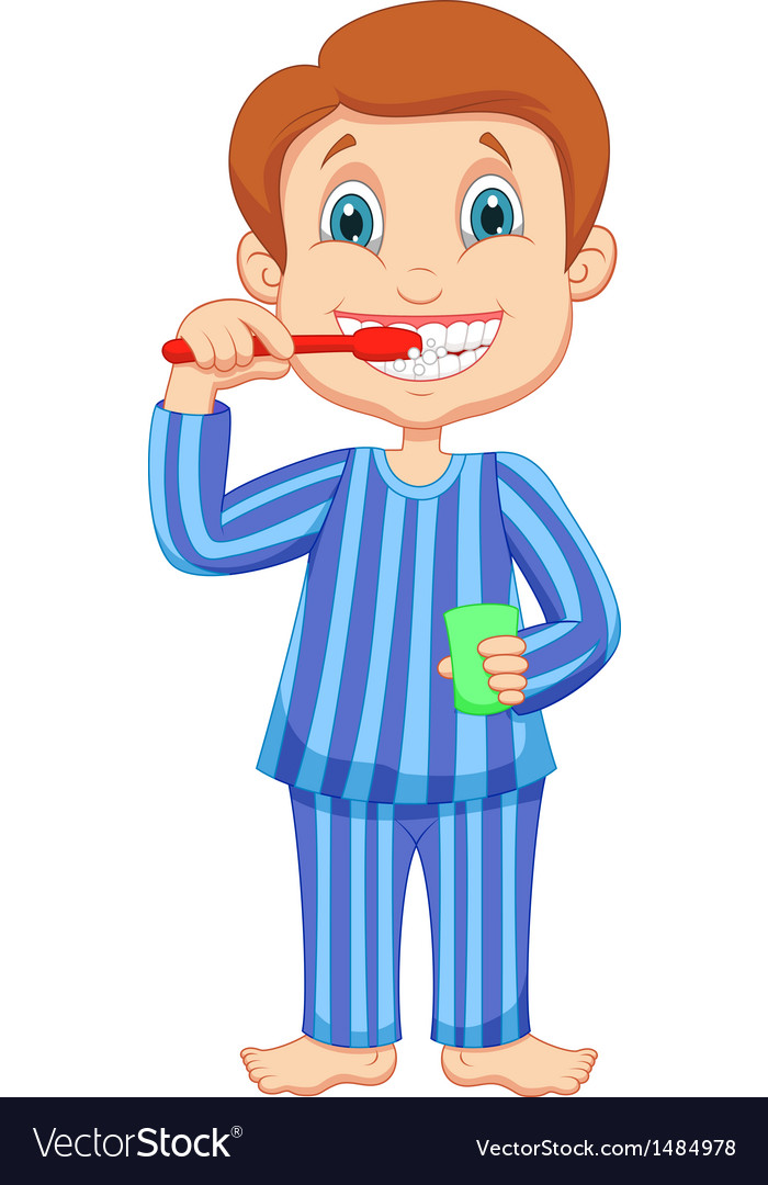 Cute little boy cartoon brushing teeth vector image