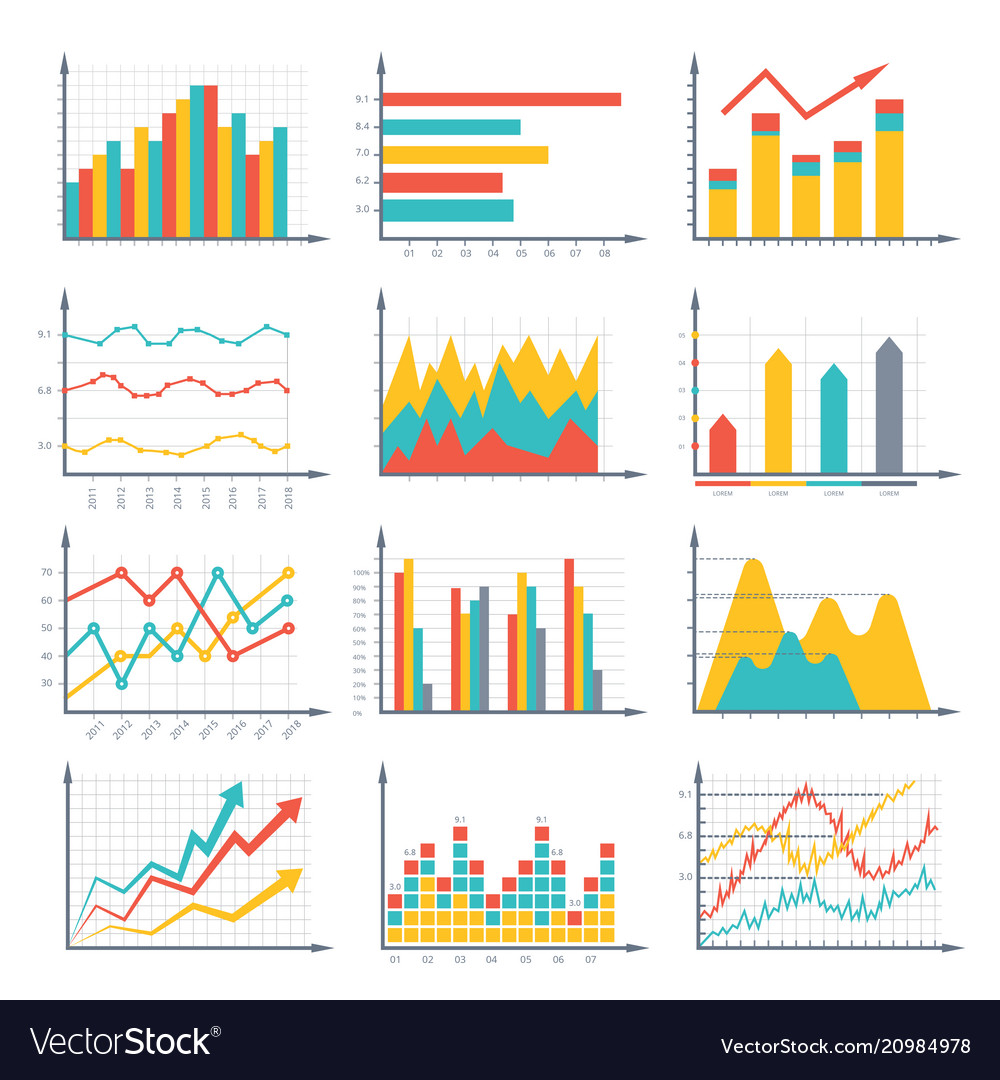 Financial business graphics and diagram set in