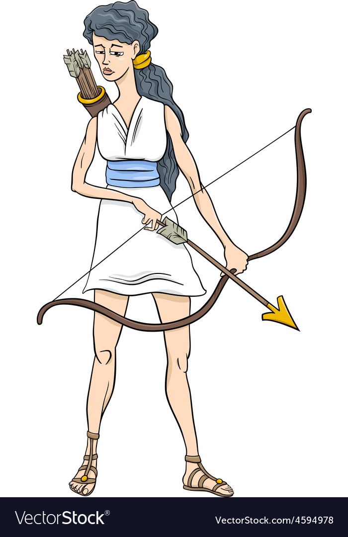 Greek goddess artemis cartoon
