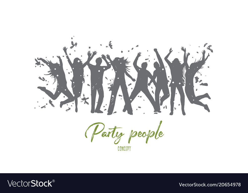 Party people concept hand drawn isolated