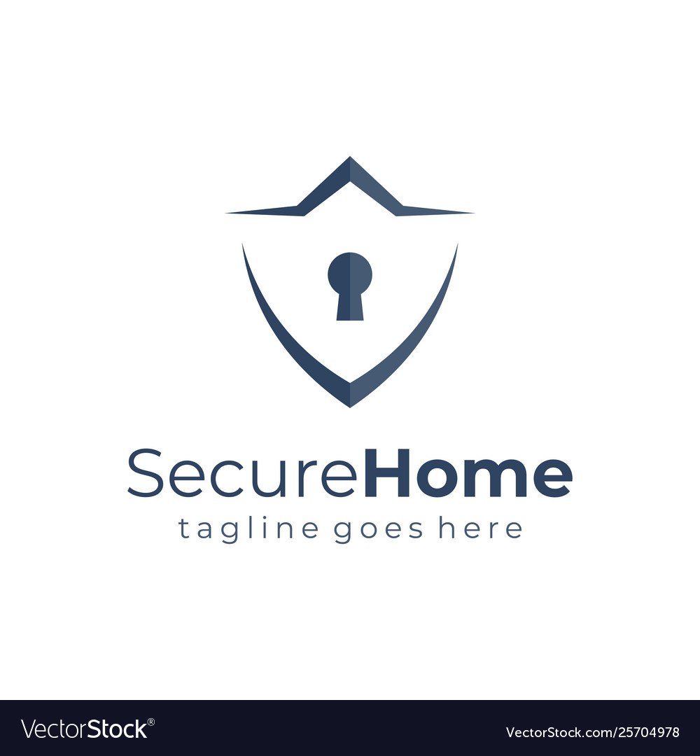 Shield home security logo template flat