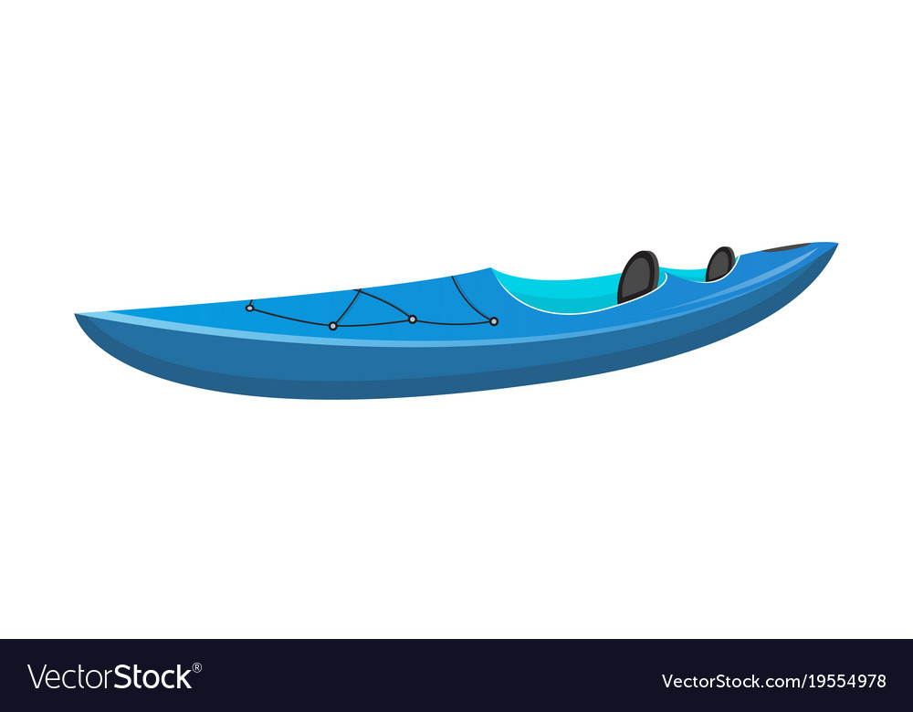 Side View Blue Sport Kayak Isolated Icon Vector Image