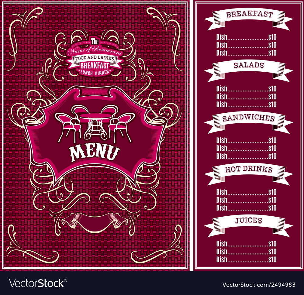 Bordo template for the cover of the menu vector image