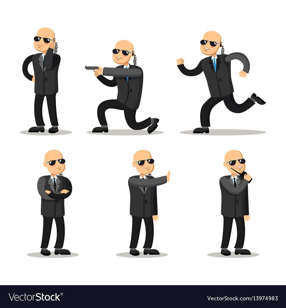 Cartoon professional safeguard man security guard