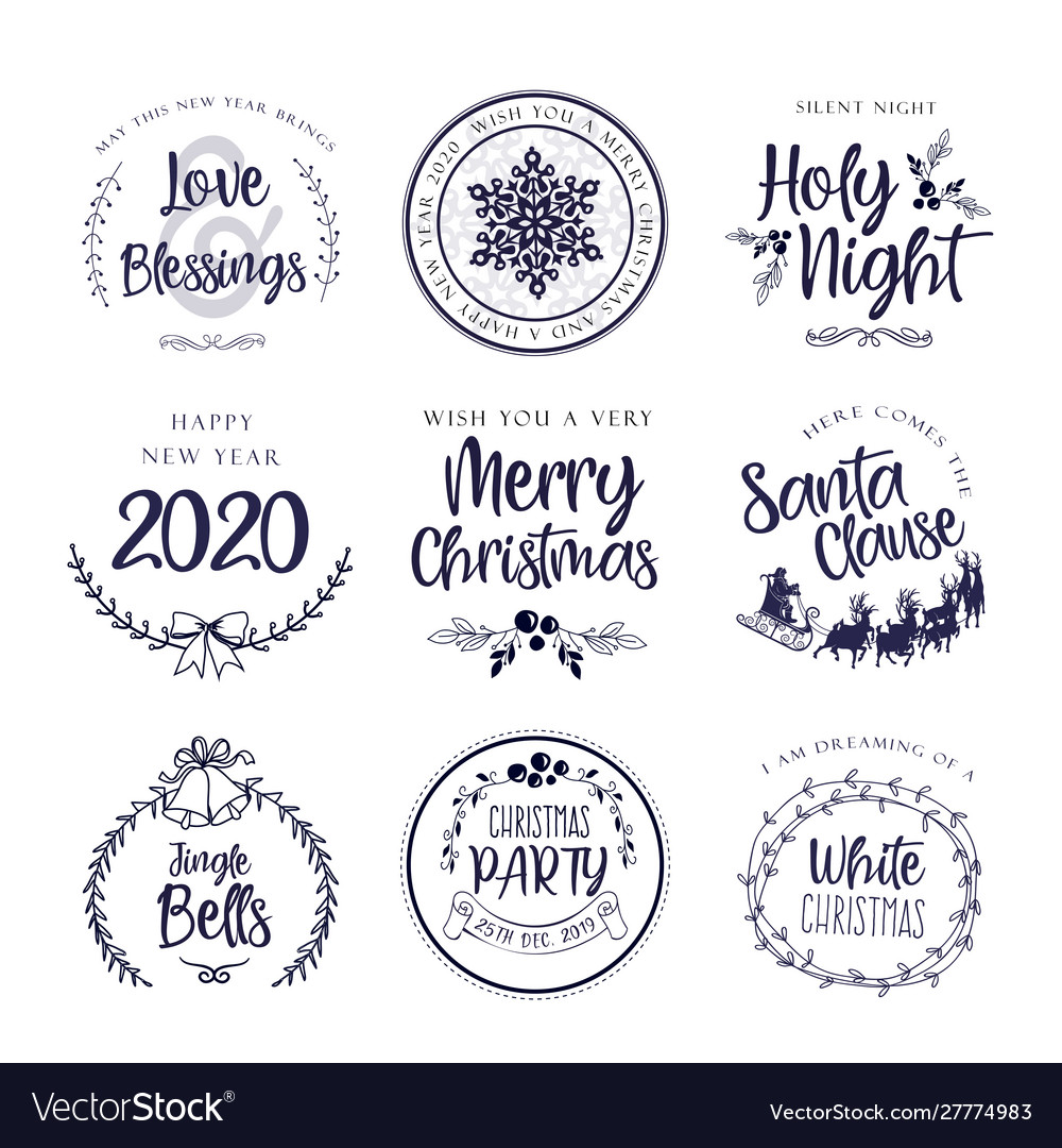 Christmas typography tag cards