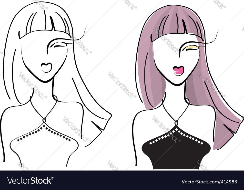 Face woman4 vector image
