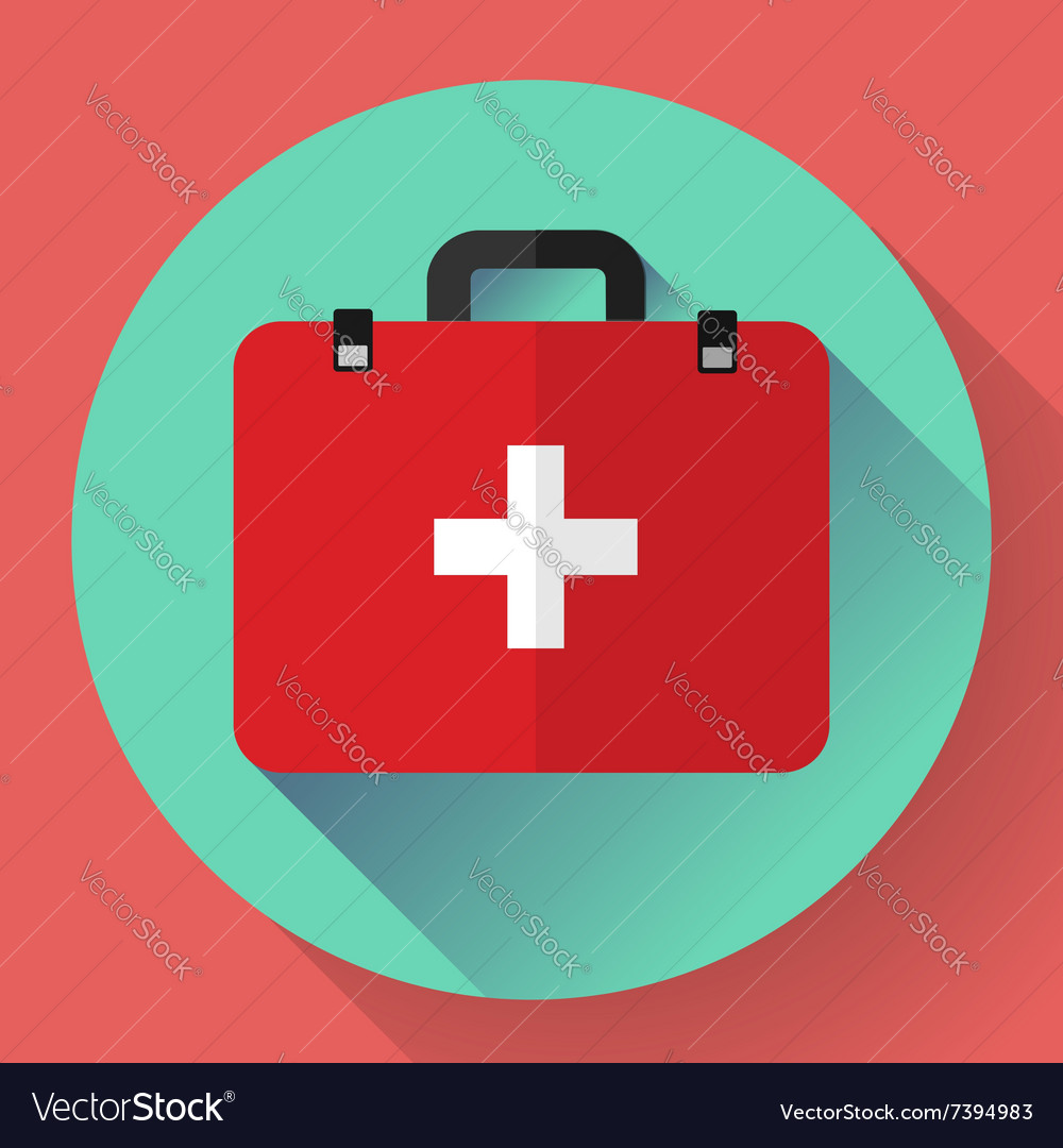 First aid case flat icon with shadow vector image on VectorStock