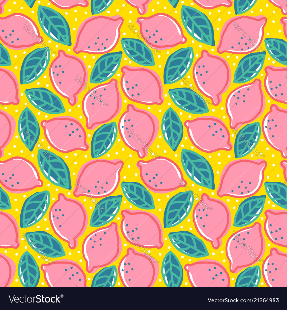 Pattern with pink lemons