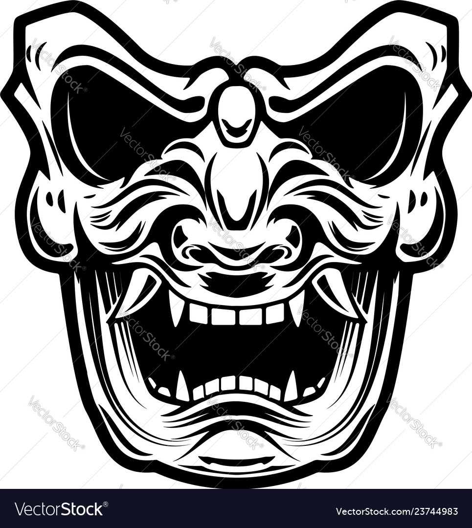 Samurai mask on white background design element