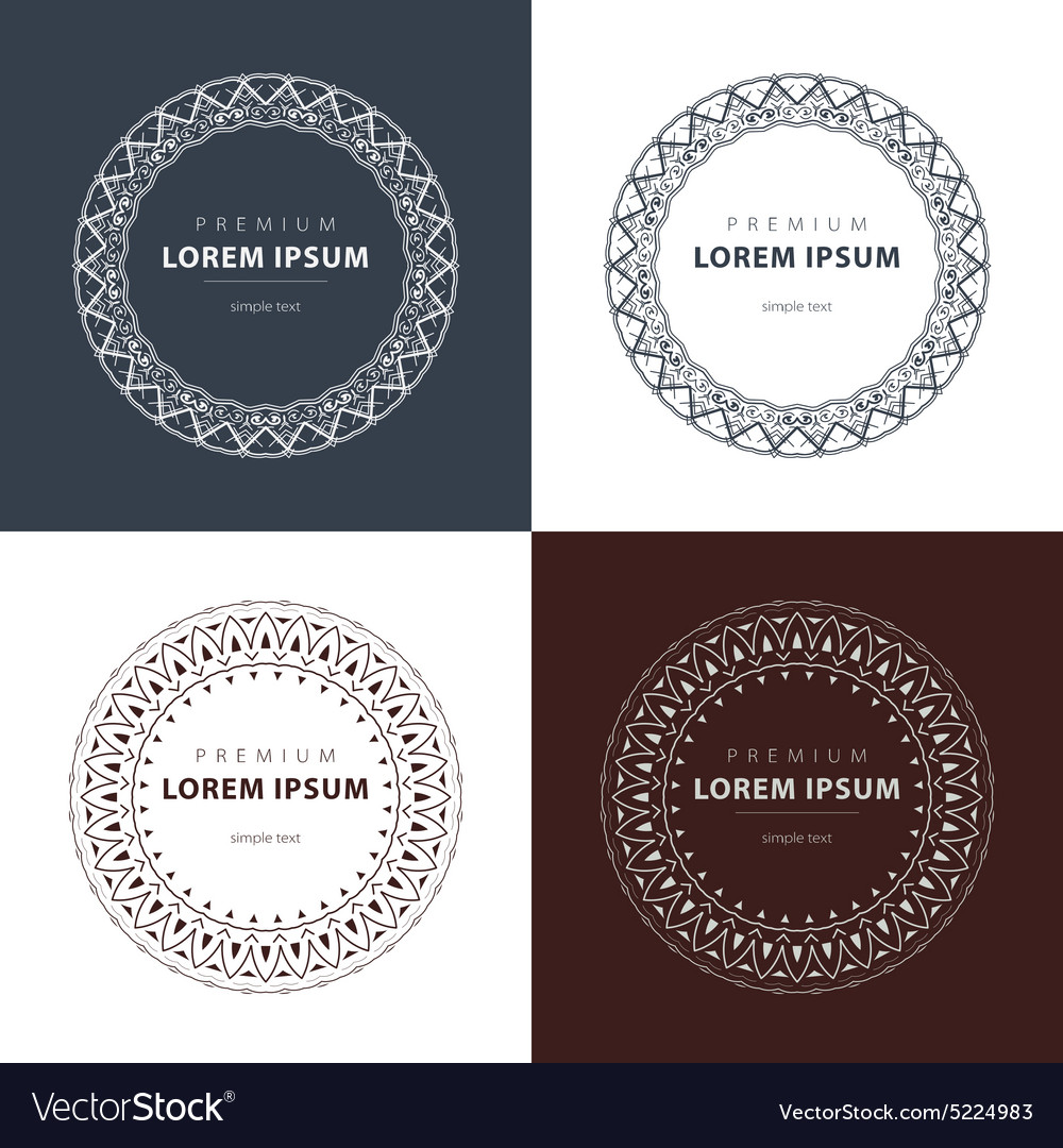 Set outline emblems and badges - abstract hipster