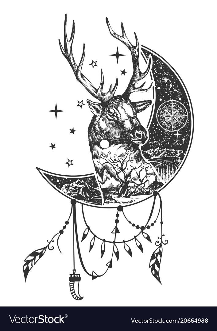 Boho deer tattoo or t-shirt print design