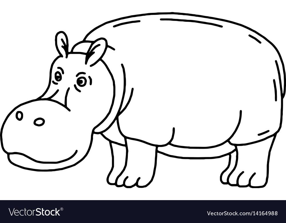 Cartoon animal cute hippo on green backgrounds