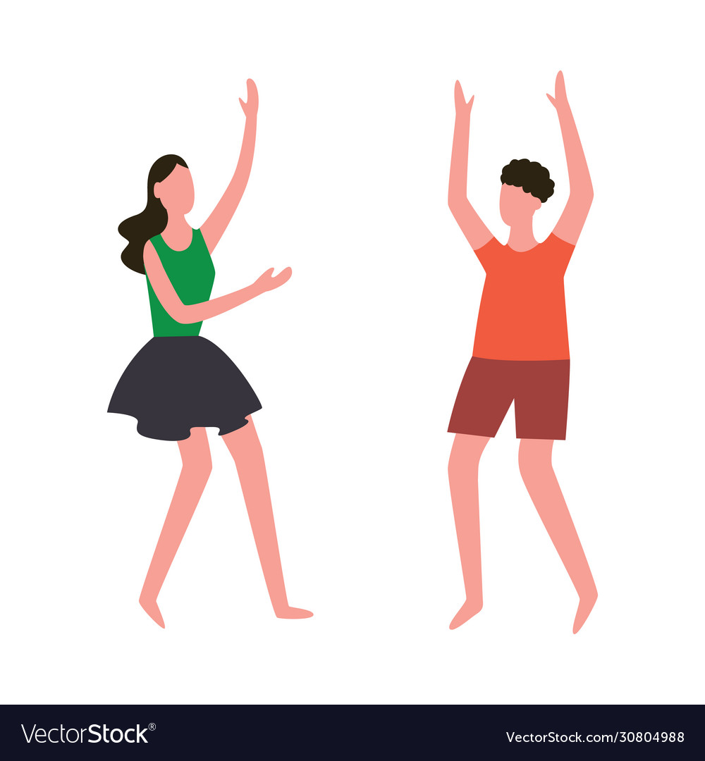 Cartoon People Doing Happy Dance Moves Couple Vector Image