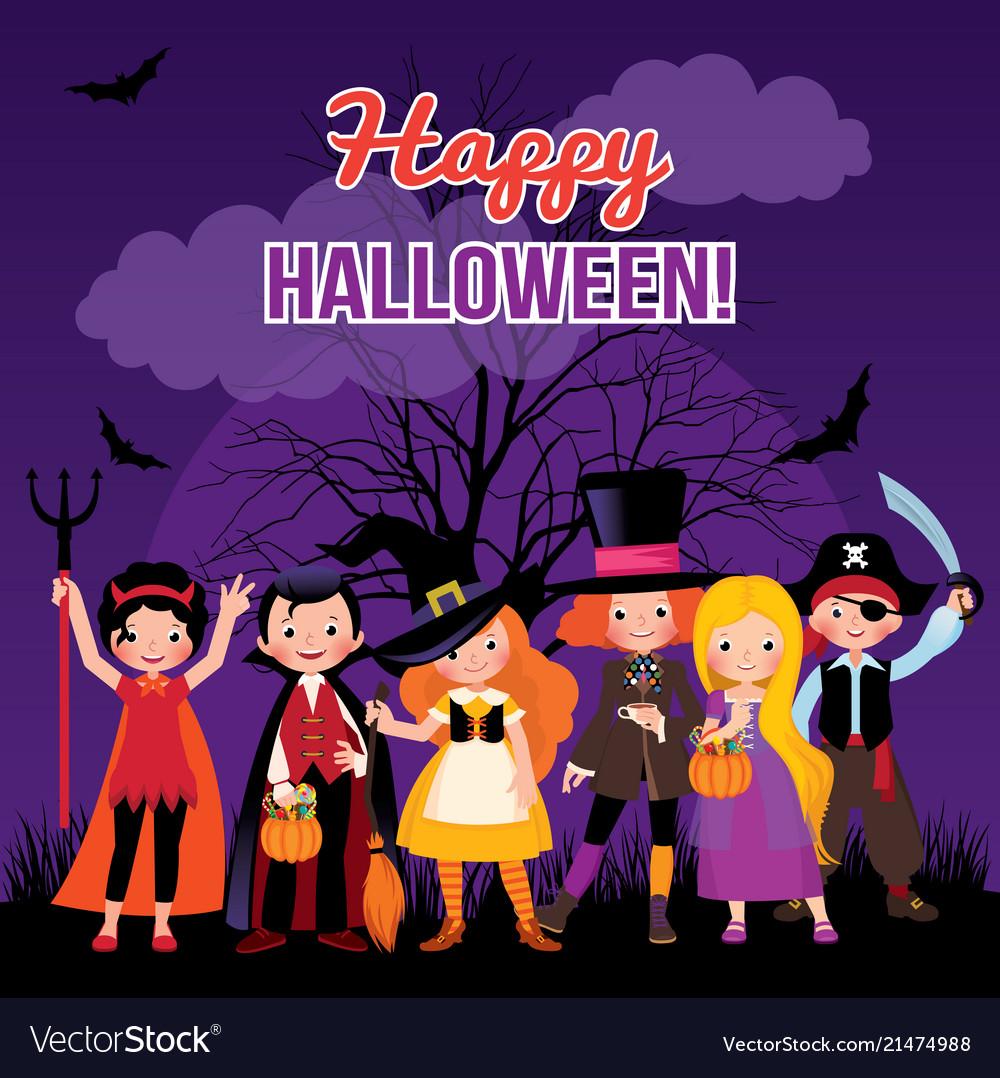 Children in costume monsters of halloween