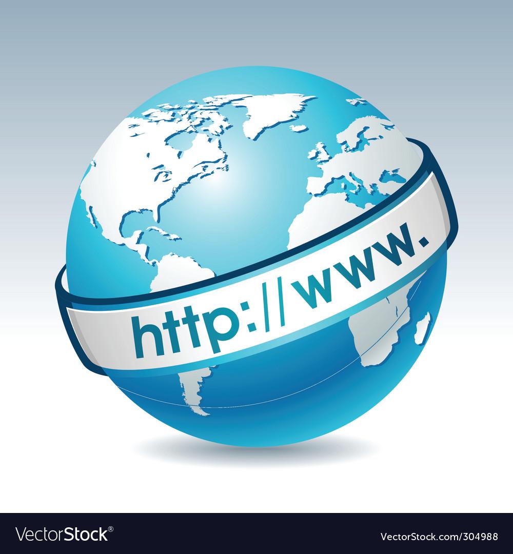 Globe with internet address