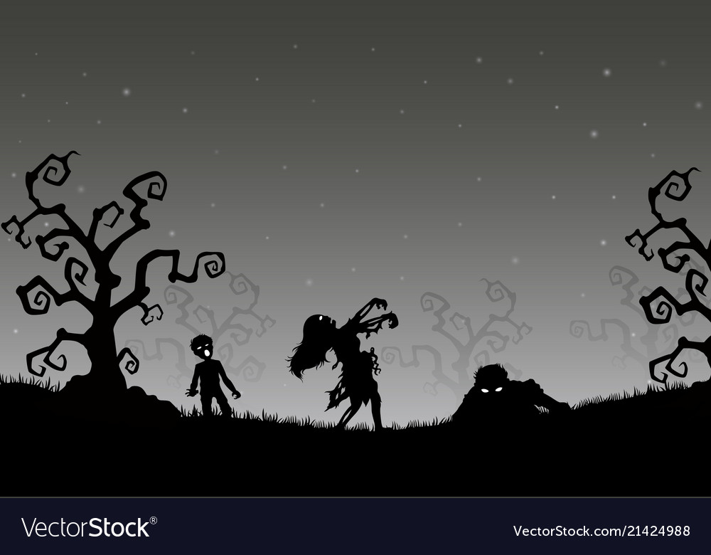 Halloween night background with zombies in the gra