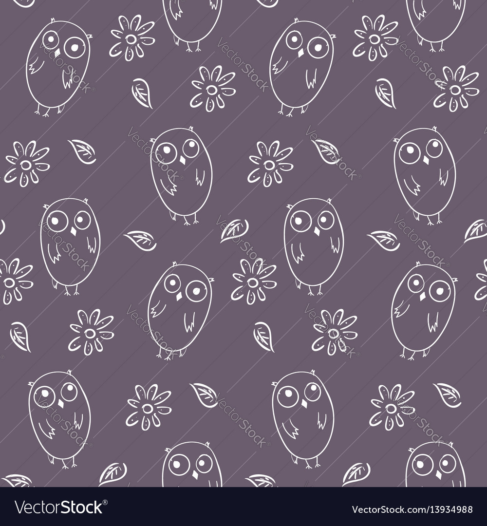 Lovely monochrome seamless pattern with cute owls vector image