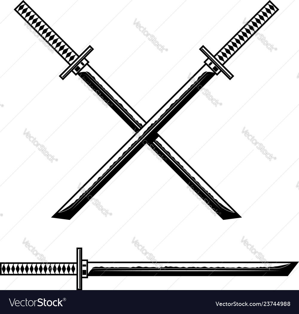 Samurai katana sword design element for logo