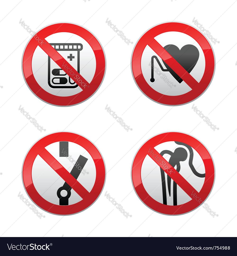 Set prohibited signs - medicine vector image