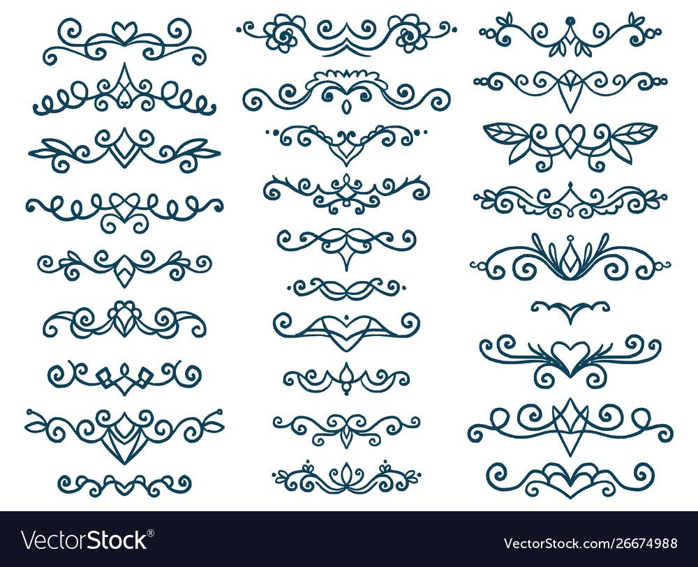 Set vintage decorative elements