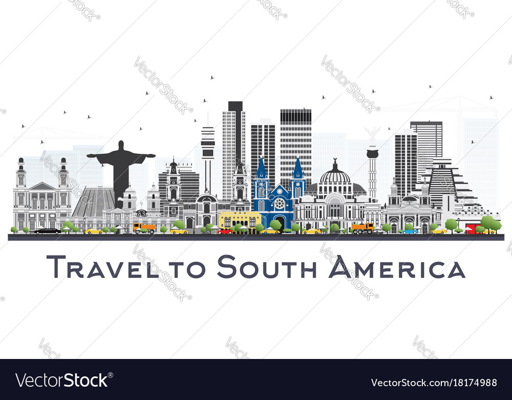 South america skyline with famous landmarks