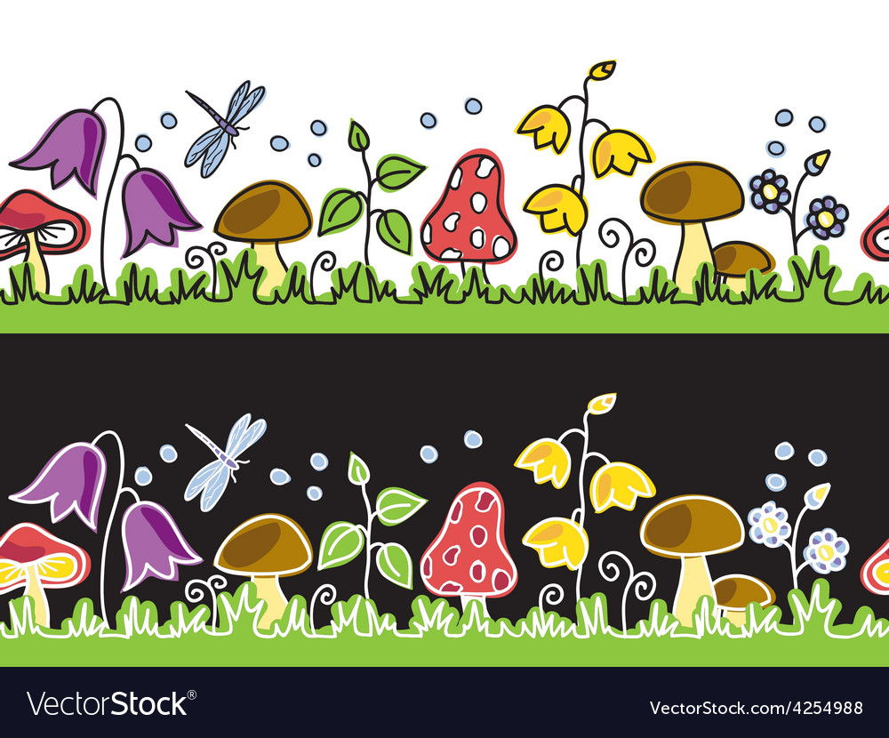 Summer flowers and mushrooms on meadow