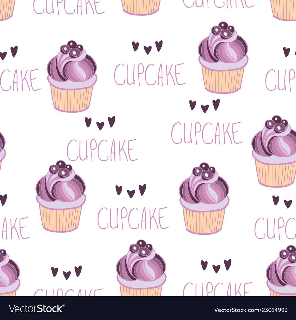 Beautiful yummy blueberry cupcake seamless