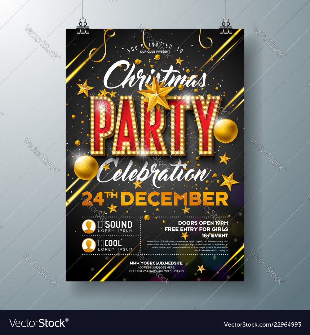 Christmas party flyer with glass ball