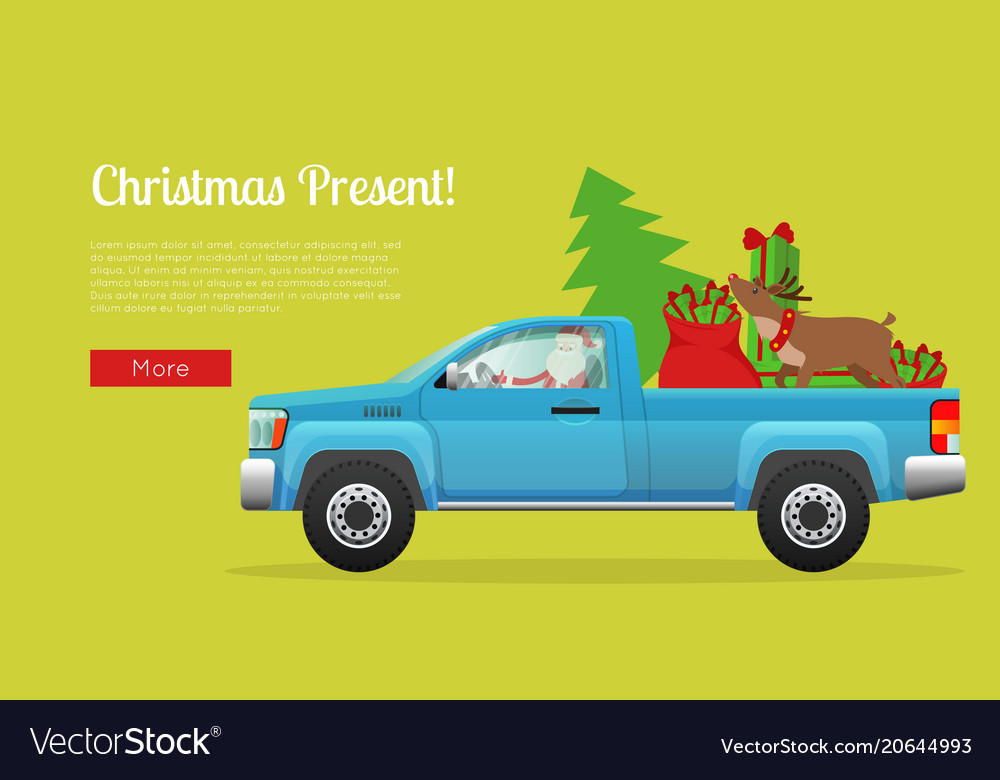 Christmas present web banner with santa on pickup vector image