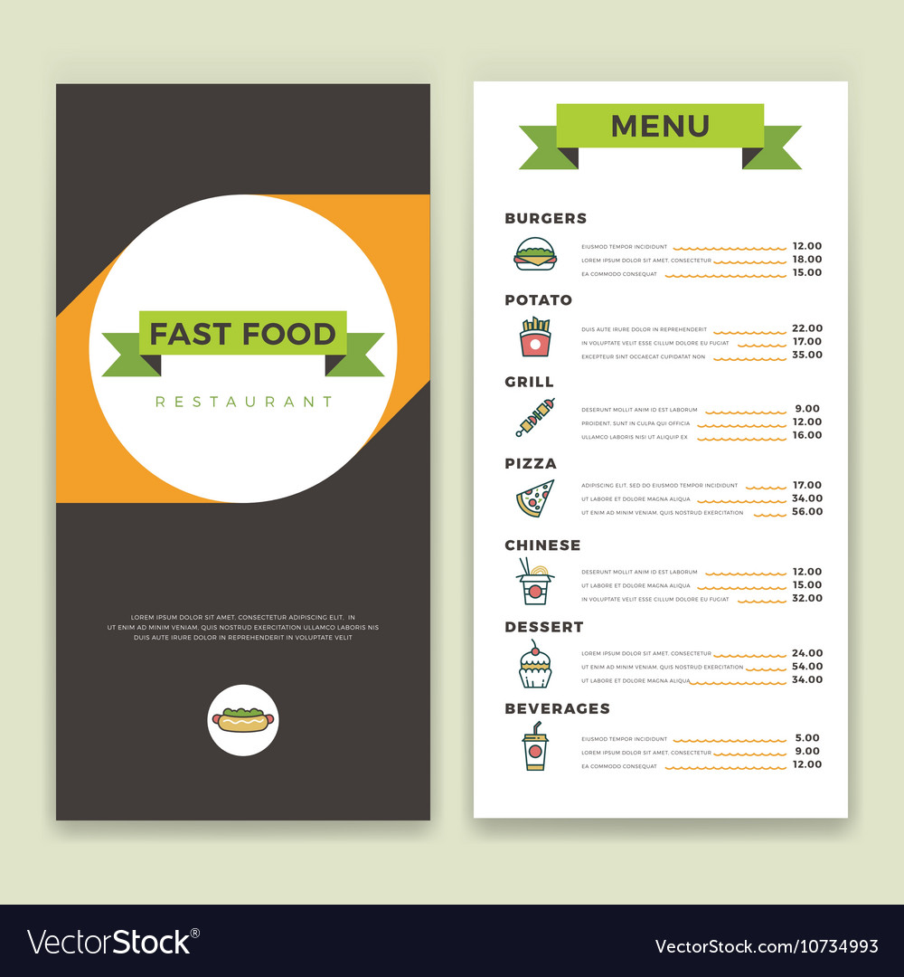 Fast food restaurant and cafe menu template