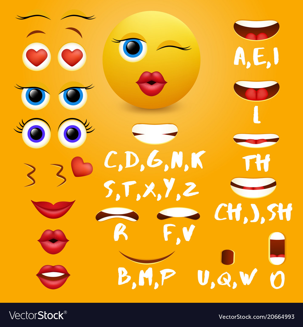 Female emoji mouth animation design vector image