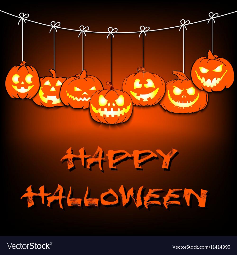 Garland of pumpkins halloween