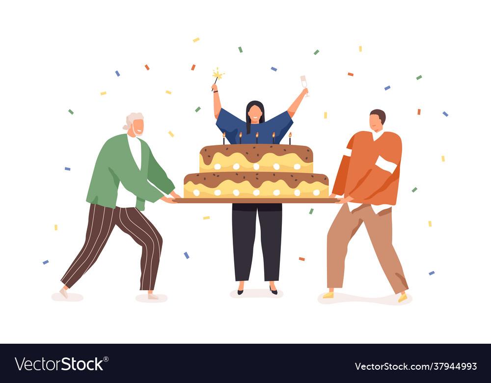 Happy people celebrating birthday holding
