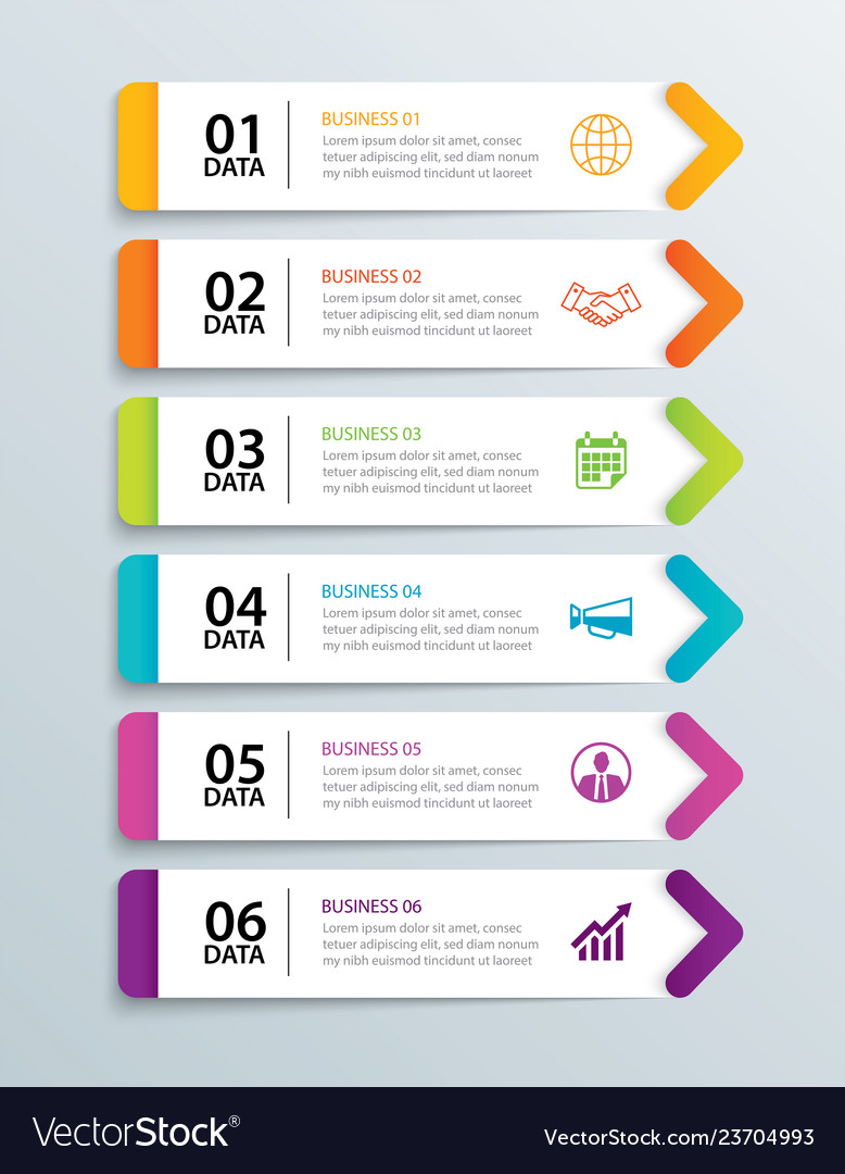 Infographics tab in horizontal paper arrow with 6