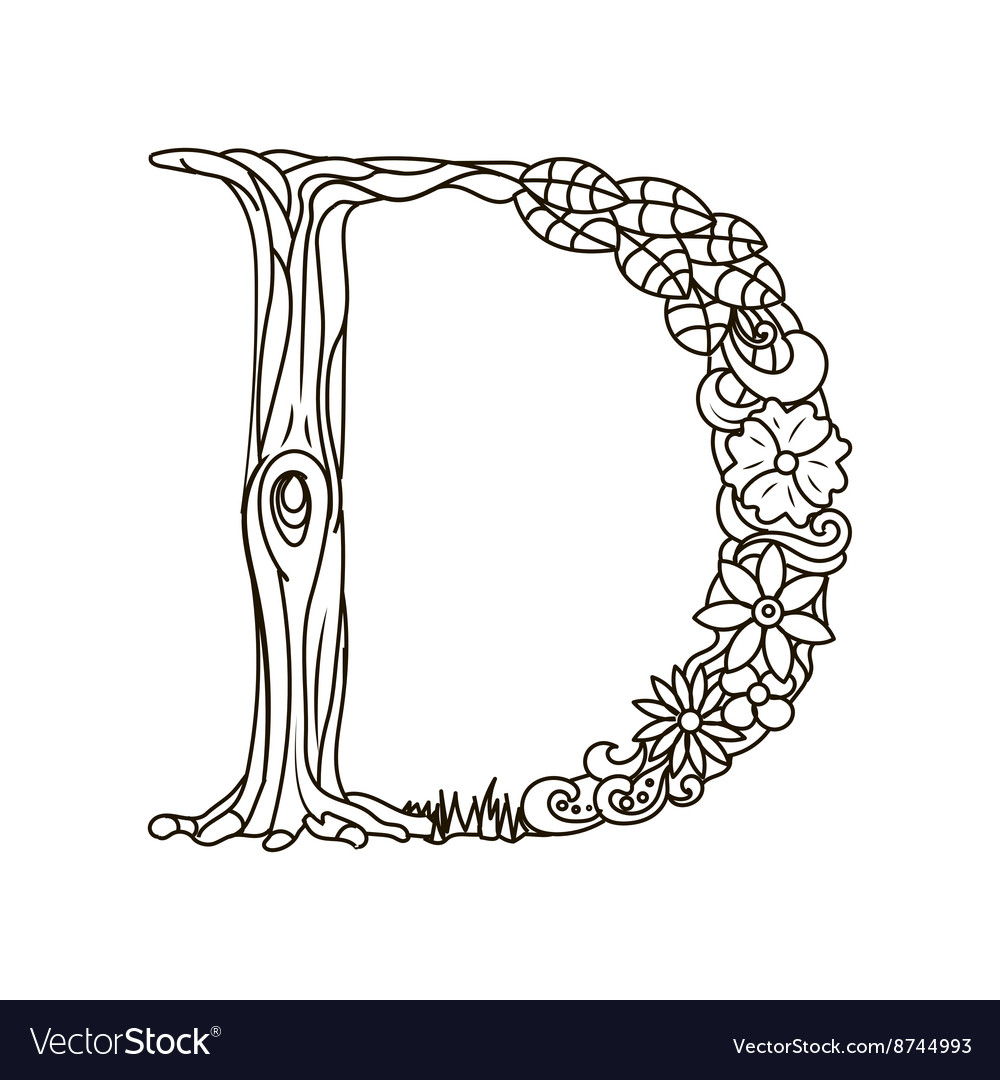 Letter D coloring book for adults Royalty Free Vector Image