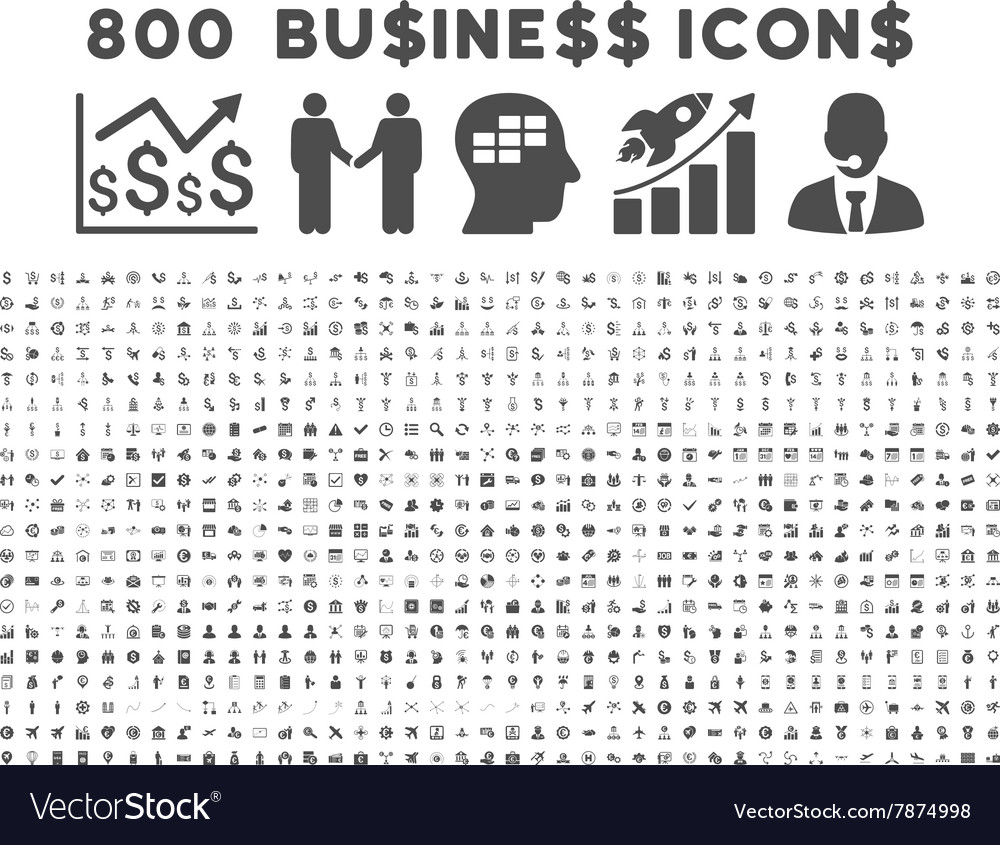 800 flat business icons