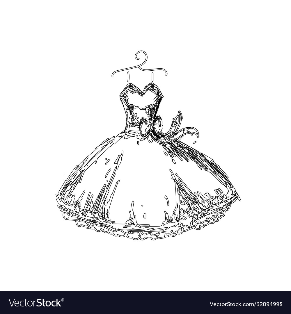 Beautiful dress line vector