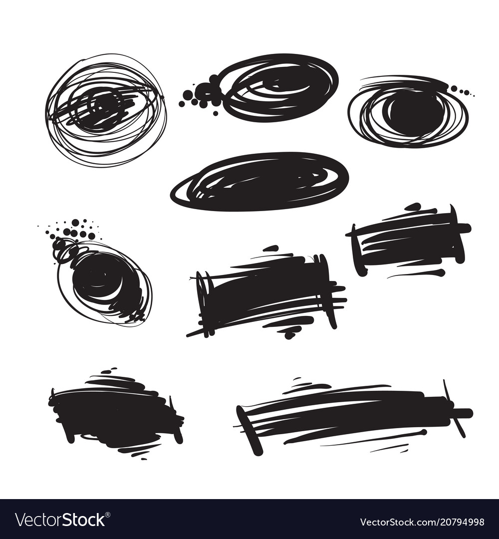 Black painted spots blots vector image
