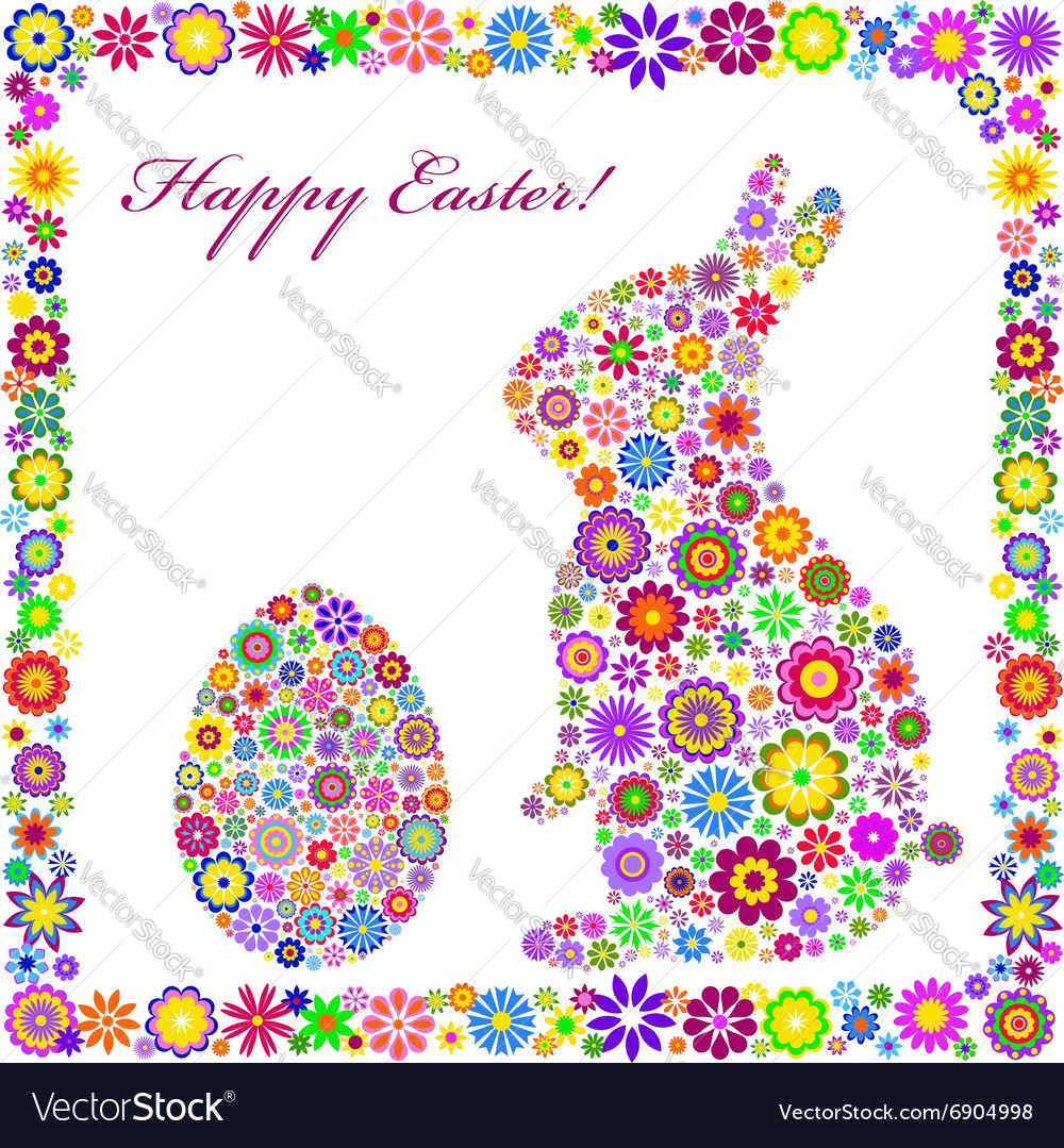 Colorful easter card on white background vector image