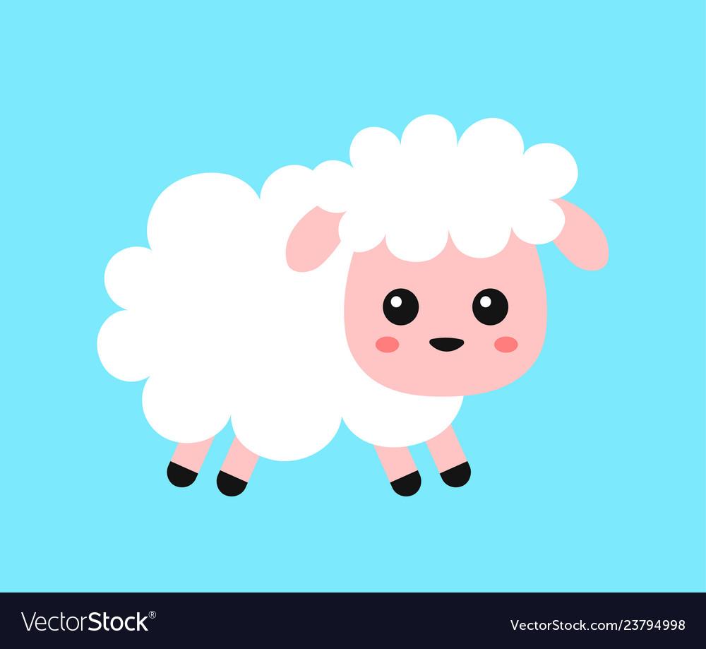 Cute funny sweet sheep flat