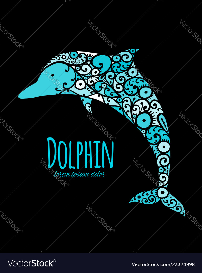 Dolphin ornate logo sketch for your design